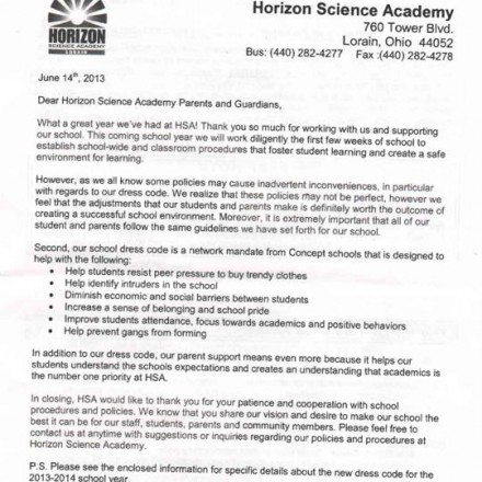 letter of school