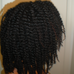 Stretched hair with a twist-out